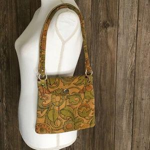 VTG Brown Floral Boho Hippie Groovy Leather Purse